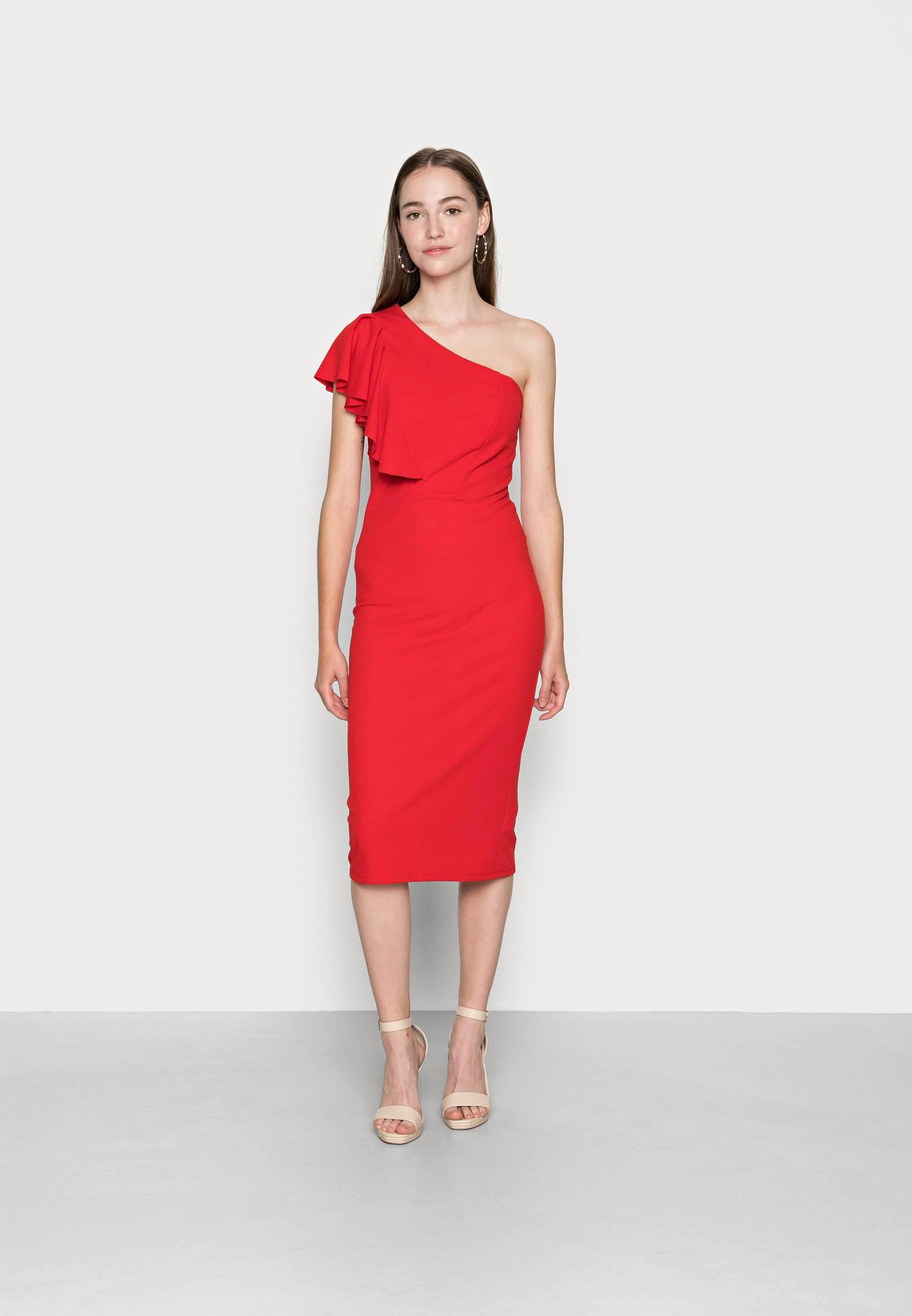 Women SHILPA SIDE FRILL MIDI DRESS - Jersey dress