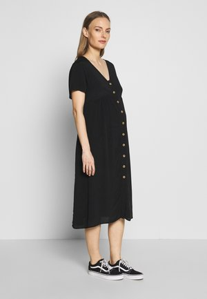 MATERNITY BUTTON FRONT MIDI DRESS - Sukienka z dżerseju - black