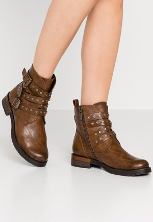 Cowboy/biker ankle boot - cognac antic