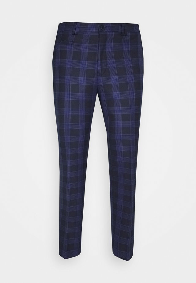 KALFE CHECK SLIM TROUSER - Broek - navy/black