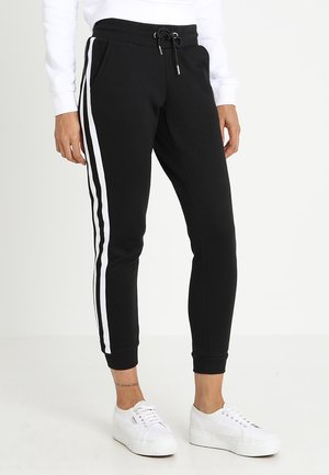 LADIES COLLEGE CONTRAST - Tracksuit bottoms - black/white/black