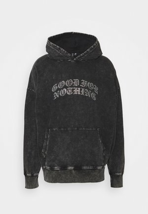 ACID WASH RHINESTONE HOOD - Collegepaita - grey