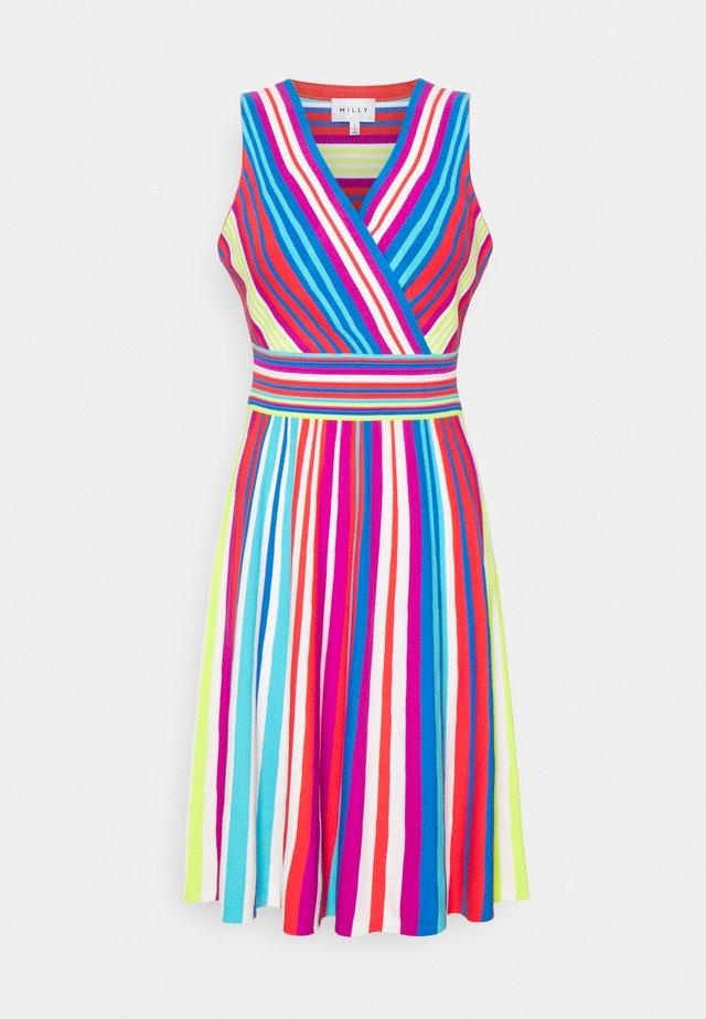 STRIPE SURPLICE DRESS - Jumper dress - multi