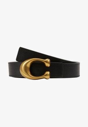 SCULPTED REVERSIBLE BELT - Belt - black/saddle