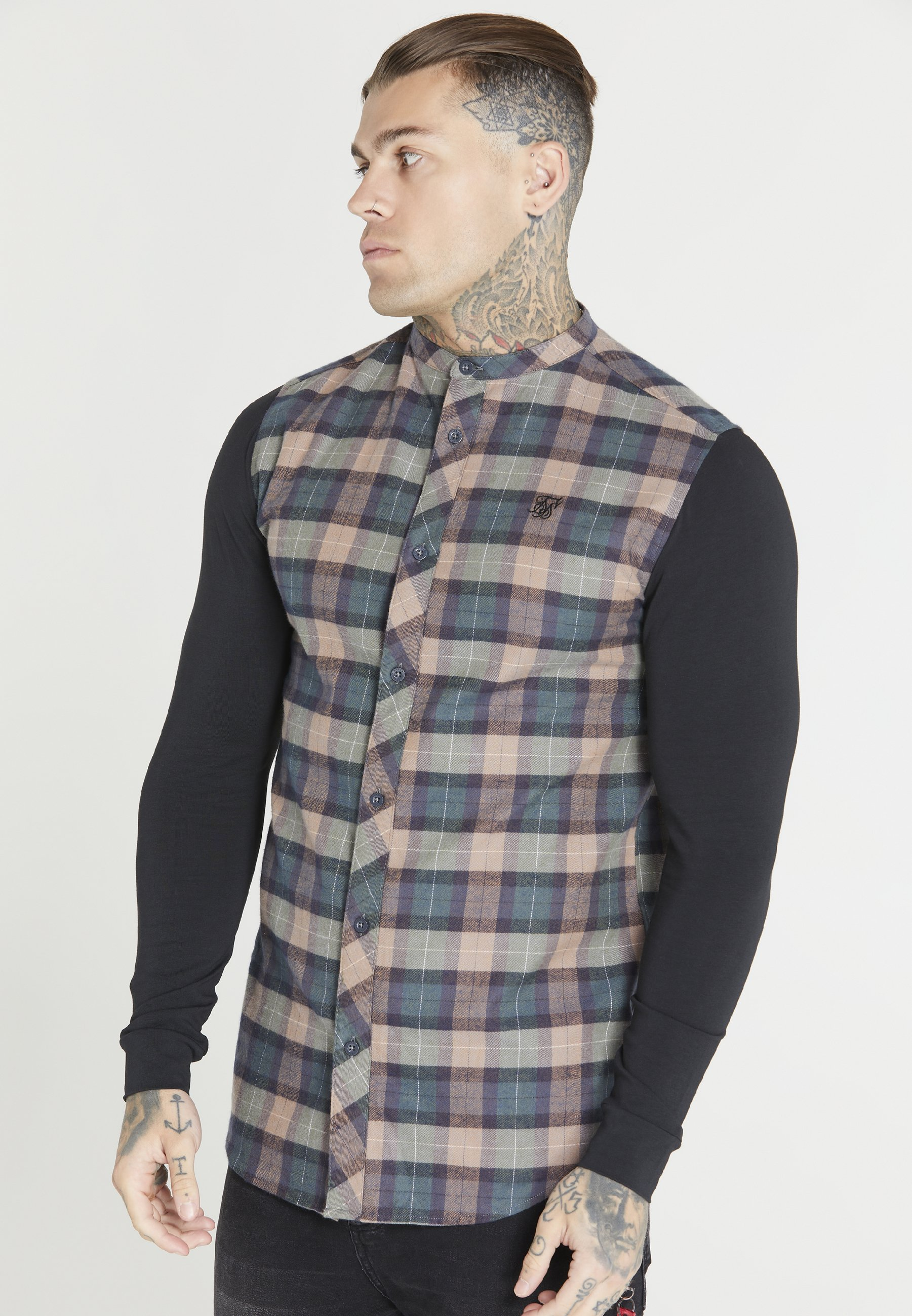 Uomo CHECK GRANDAD SHIRT - Camicia