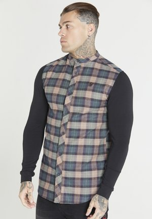 CHECK GRANDAD SHIRT - Koszula - black/brown/green