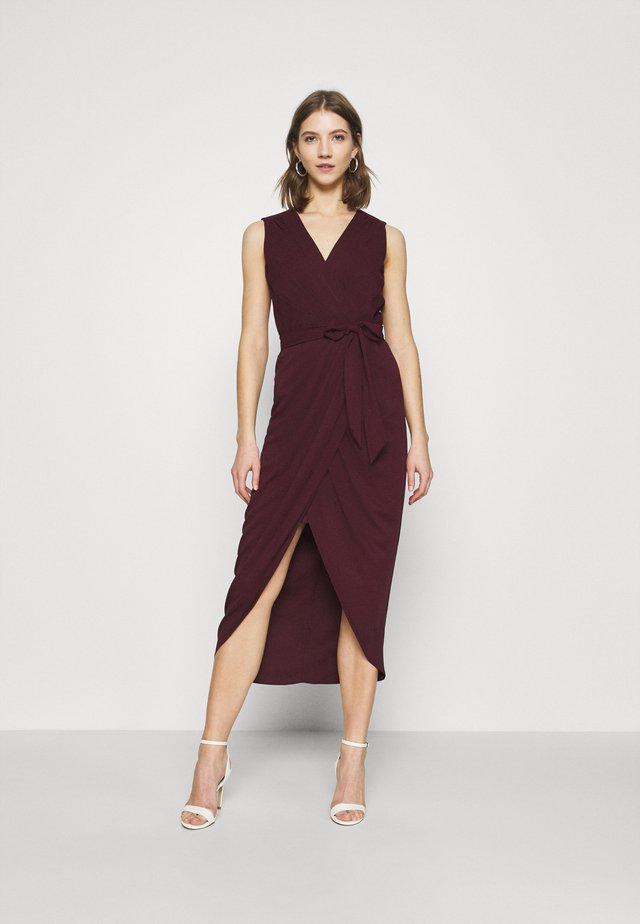 LIZA WRAP MIDI DRESS - Kotelomekko - burgundy
