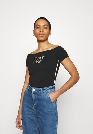 PIPING LOGO BARDOT - Print T-shirt - black