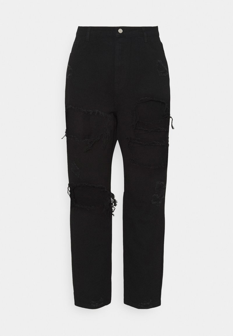 Missguided Plus - PLUS RIOT RIPPED MOM - Relaxed fit jeans - black