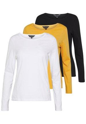 3 PACK LONG SLEEVE CREW - Majica z dolgimi rokavi - black/ white/ ochre