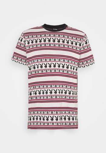PLAYBOY STRIPE - Print T-shirt - burgundy