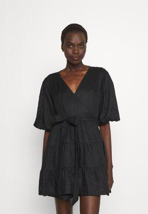 ROONEY WRAP MINI DRESS - Day dress - plain black