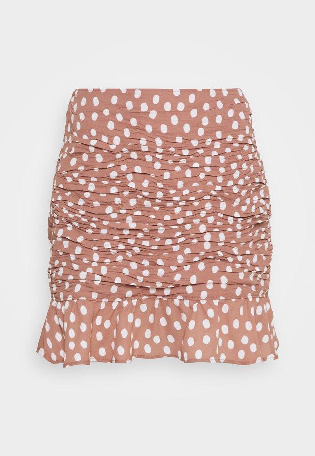 RUCHED MINI - Minigonna - burlwood dots