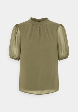PUFF SLEEVE TOP - Blouse - khaki