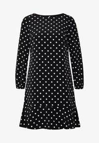 Wallis Petite - SPOT FLIPPY HEM SHIFT DRESS - Day dress - black - 3