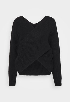 CROSS FRONT BARDOT - Strickpullover - black