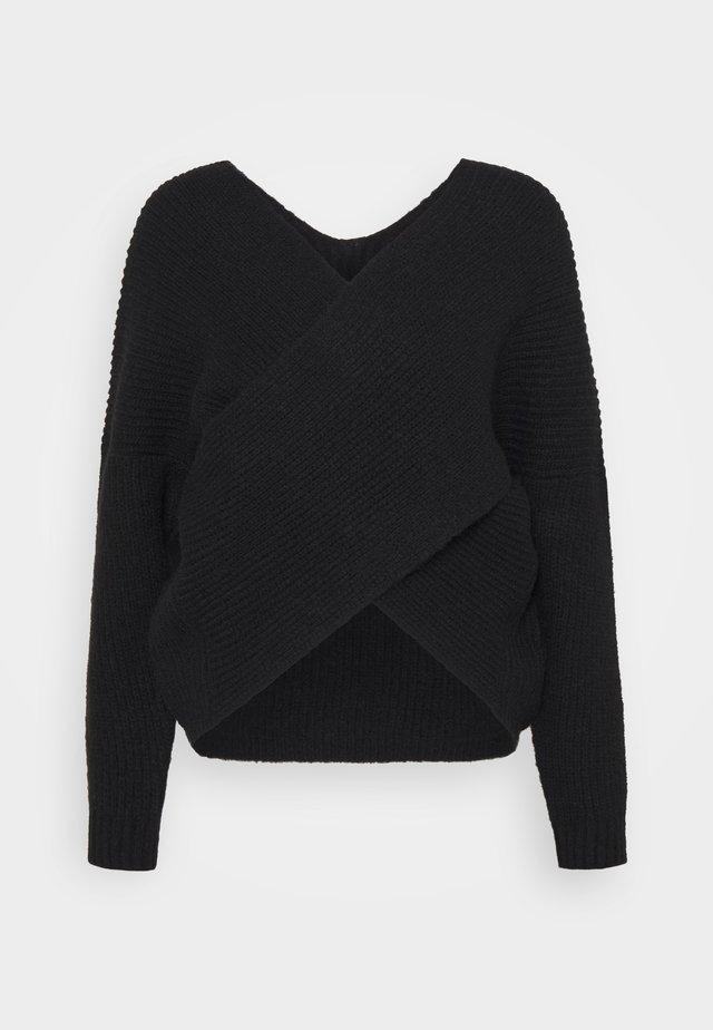 CROSS FRONT BARDOT - Sweter - black