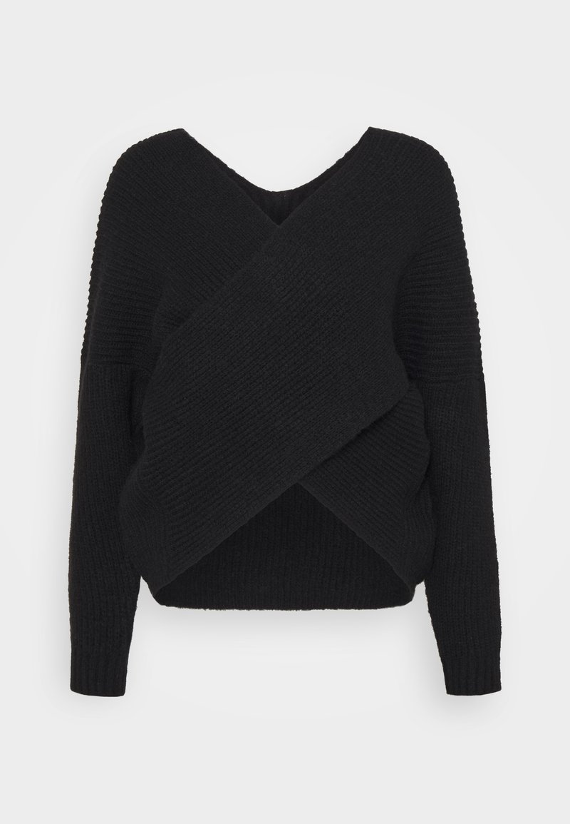 Even&Odd - CROSS FRONT BARDOT - Jumper - black