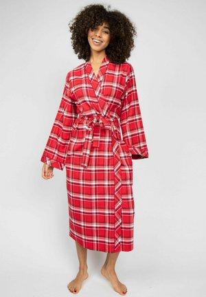 ROBYN  - Dressing gown - burgundy cream checks