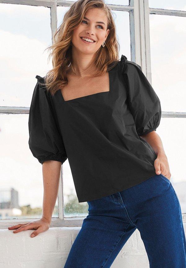 Next SQUARE NECK - T-shirt z nadrukiem - black/czarny HMIP
