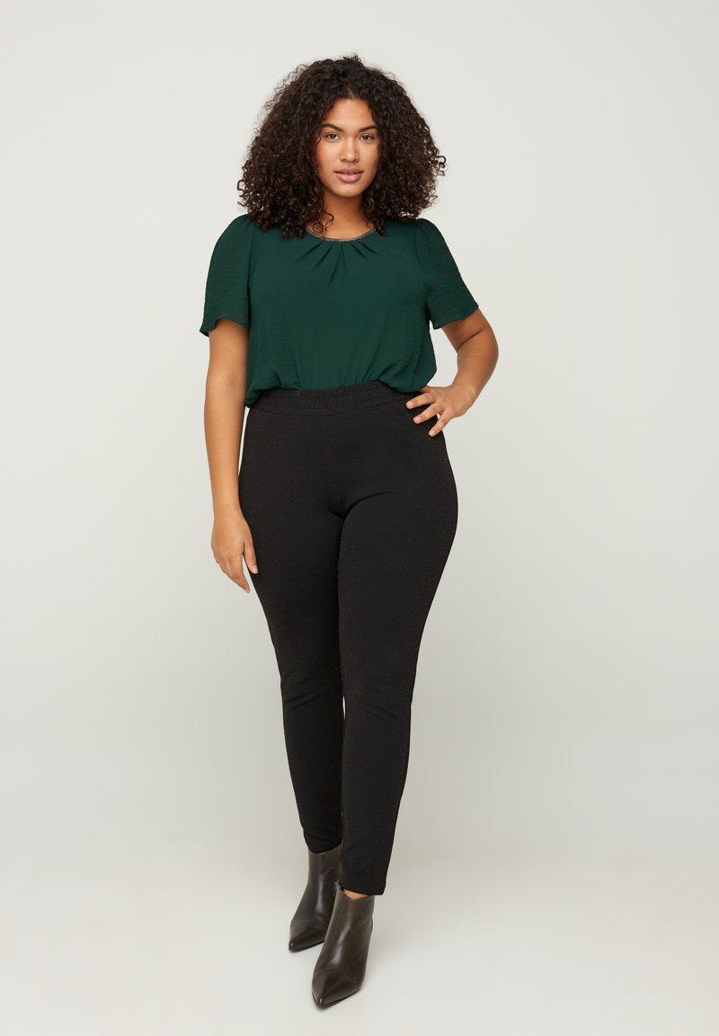 Zizzi - SPARKLY  - Leggings - Trousers - black