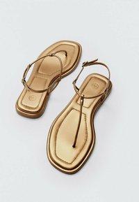 Massimo Dutti - T-bar sandals - gold - 2