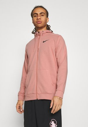 Zip-up hoodie - rust pink/black