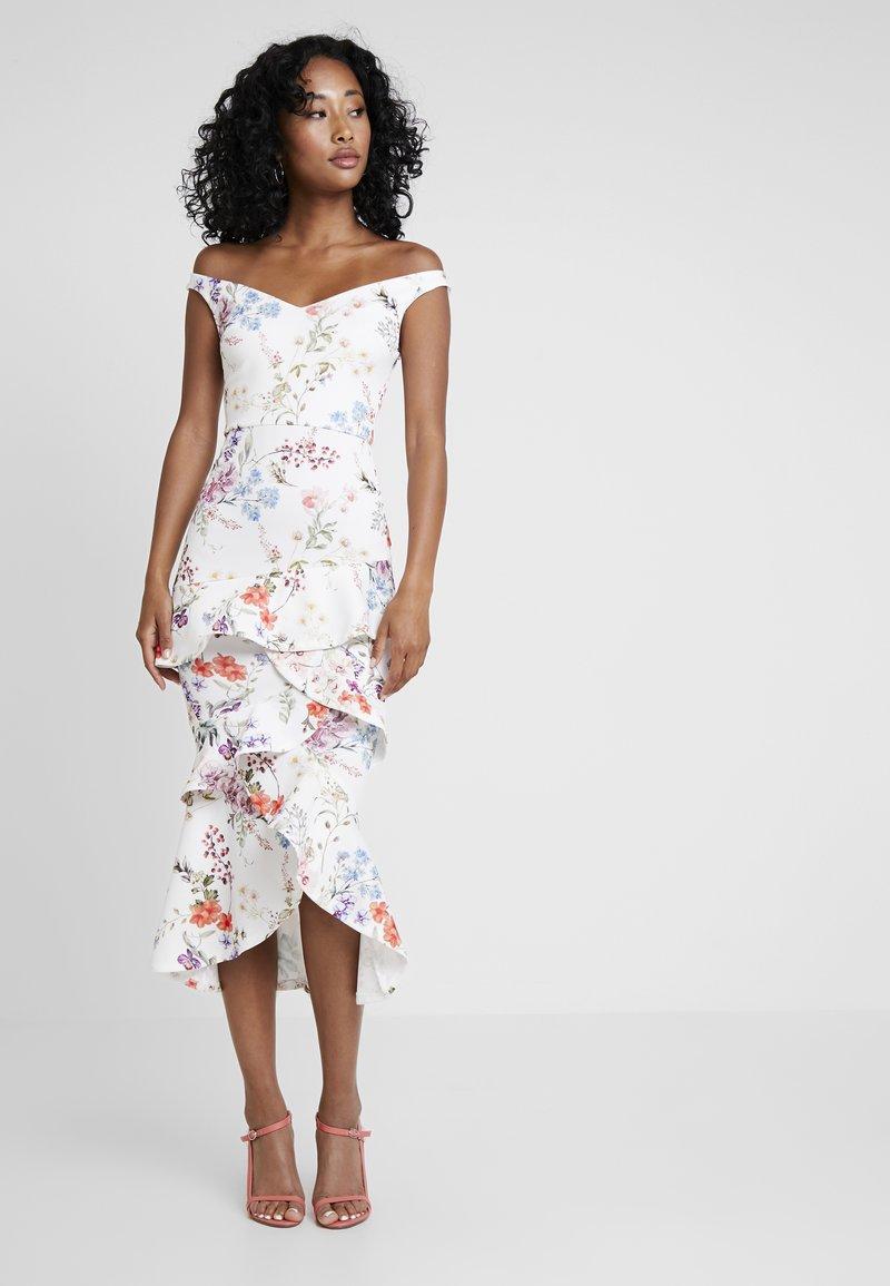 True Violet - BARDOT BODYCON WITH FRILL - Maxi dress - multi-coloured/white
