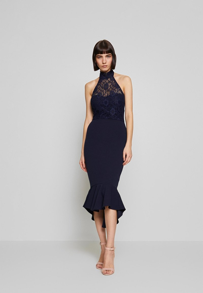 Missguided - DIP MIDI DRESS BRIDESMAID - Jerseykjole - navy