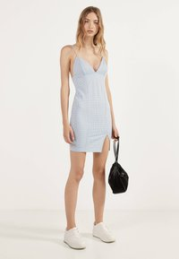 Bershka - MIT VICHYKAROS  - Day dress - light blue - 1