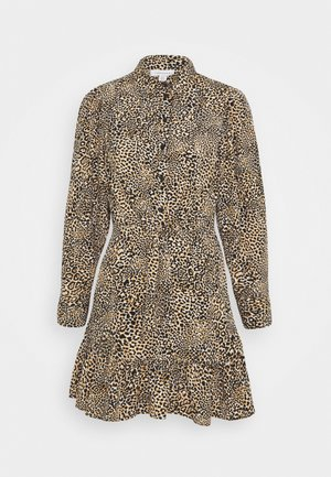 TIE FRONT SHIRTDRESS - Day dress - brown