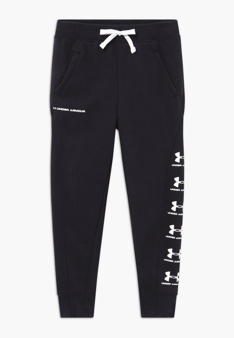 Under Armour - RIVAL - Tracksuit bottoms - black/white