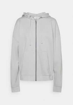 Zip through oversized hoodie jacket - veste en sweat zippée - light grey