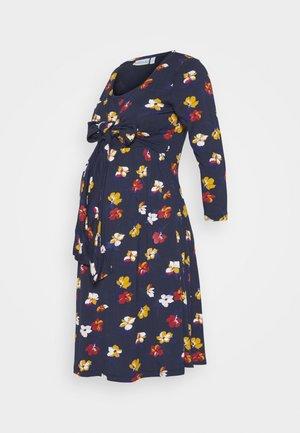 FLORAL MATERNITY NURSING WRAP TIE DRESS - Jersey dress - navy