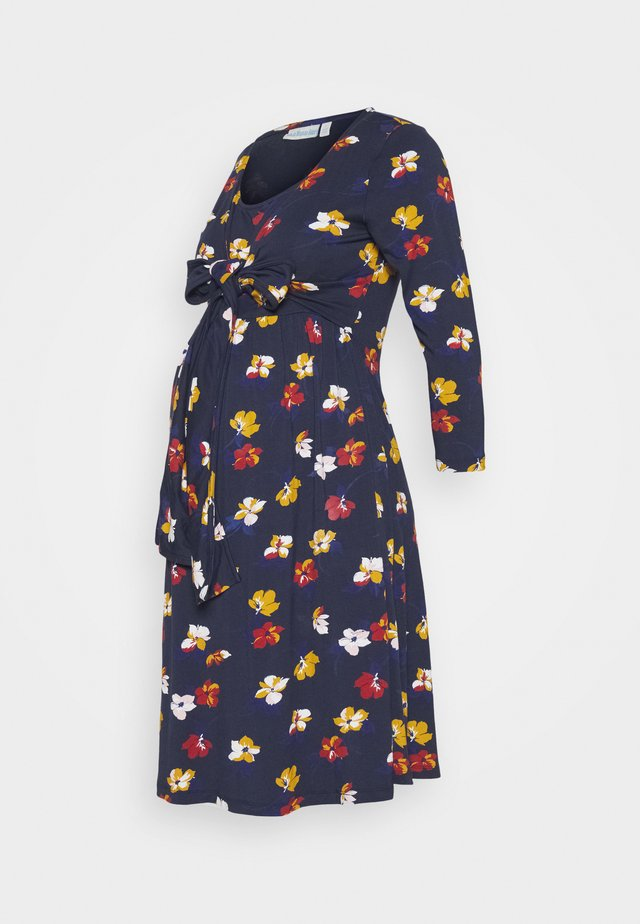 FLORAL MATERNITY NURSING WRAP TIE DRESS - Jerseykjole - navy