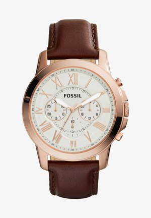 Chronograph watch - rose gold, brown