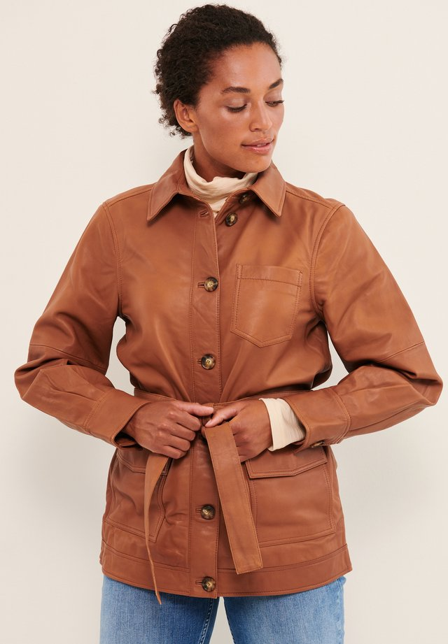 Veste en cuir - hazel brown