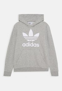 adidas Originals - TREFOIL HOODIE - Mikina s kapucí - medium grey heather/white - 0