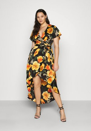 FLORAL OPEN BACK HIGH LOW WRAP DRESS - Maxikjole - black