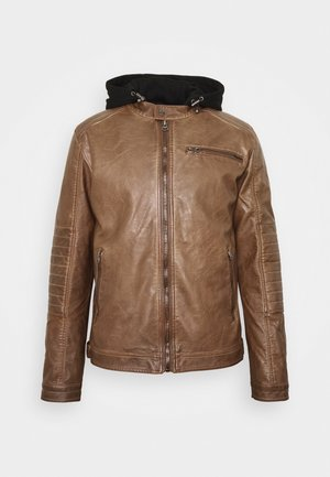 BERRY - Faux leather jacket - brown