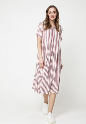 DARI - Korte jurk - wein-rot, weiß