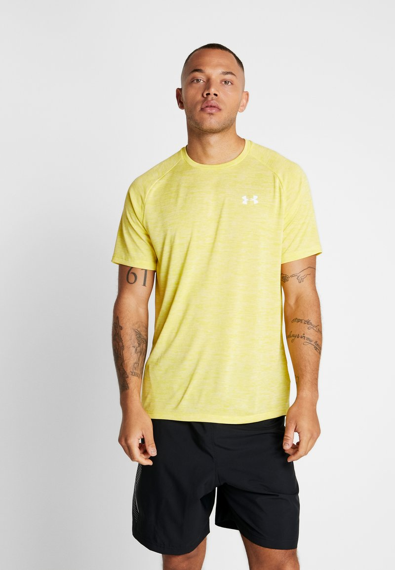 Under Armour - HEATGEAR TECH  - Camiseta estampada - eureka yellow/white