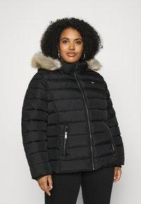 Tommy Jeans Curve - ESSENTIAL HOODED JACKET - Winter jacket - black - 0
