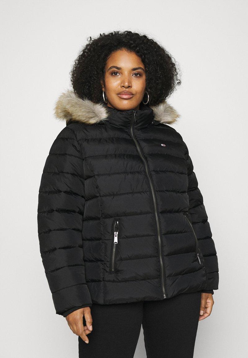 Tommy Jeans Curve - ESSENTIAL HOODED JACKET - Winter jacket - black