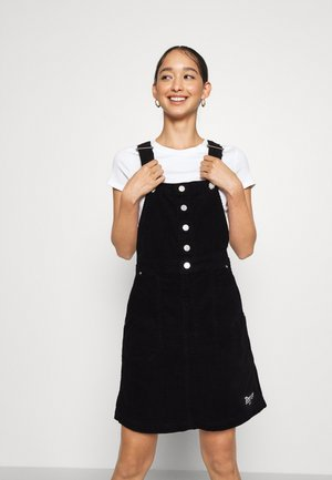 CROSSBACK DUNGAREE DRESS - Day dress - black