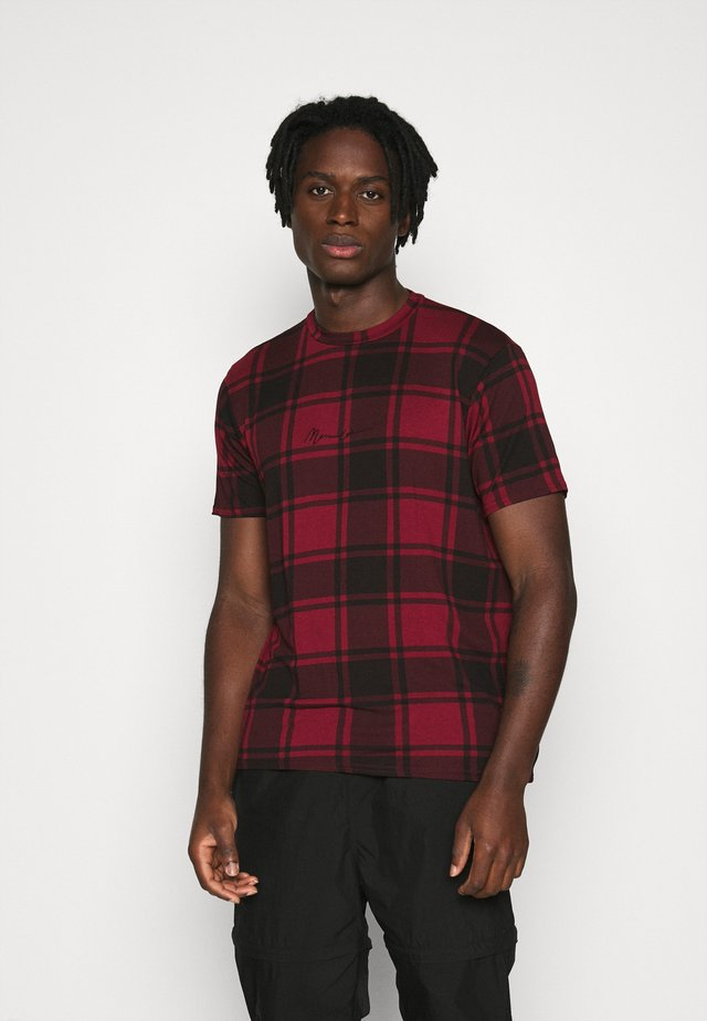 CONTRAST NECK TARTAN  - T-shirt print - red