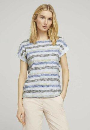 Print T-shirt - blue stripe horizontal