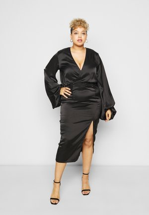 BALLOON SLEEVE WRAP FRONT DRESS - Day dress - black