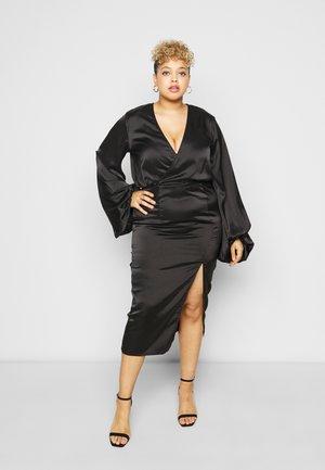 BALLOON SLEEVE WRAP FRONT DRESS - Kjole - black