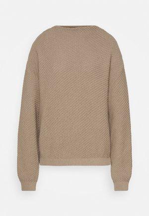 Diagonal jumper with grown on collar - Jumper - dark beige